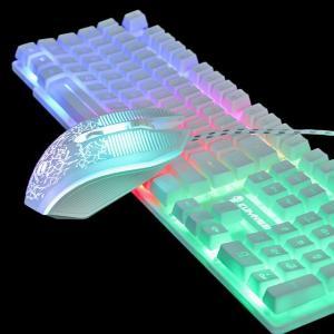 1セットT6虹バックライト発光キーボードマウスセットデスクトップ コンピュータ ゲーム 機械式手の感触のためのpc PS4 PS3 xbox okuda-store