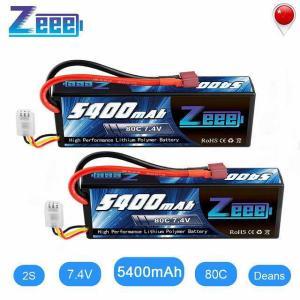 Zeee 5400 2600mah 80C 2S 7.4V リポ バッテリー ハードケースディーンズコネクタプラグ 2 ユニット RC リポ okuda-store