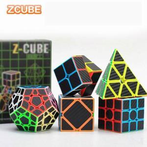 5 ピース/セット Z ルービックキューブ カーボンファイバースピード ルービックキューブ バンドルピラミッド面体 3 × 3 スキュー平方 okuda-store