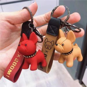 ファッション パンクフレンチブルドッグ キー ホルダー puレザー犬の キー ホルダー 女性 のためのバッグ ペンダント ジュエリー 小物|okuda-store