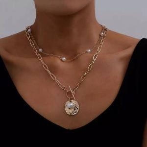 ファッション 2層バロック真珠コイン ペンダント チョーカー ネックレス 女性 パンクゴールド ロング チェーン ネックレス ゴシックの|okuda-store