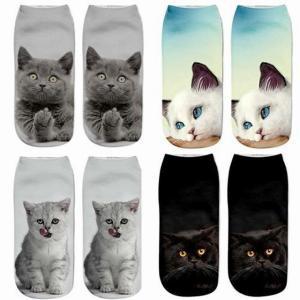 1pc ファッション かわいい 猫 靴下 3D プリント レディース メンズ クール  キャラクター  アンクル ソックス 動物 楽しい シ okuda-store