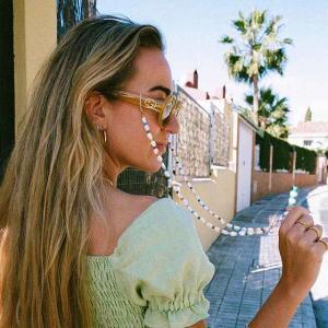 新しい レディース メガネ チェーン カラフルパール ビーズ 眼鏡 ストラップ ノンスリップ サングラス ストラップ 老 眼鏡 チェーン 眼|okuda-store