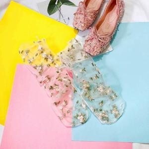 2 色 レディース キャンディー カラー 刺繍 花 ソックス ロリータ レディース 透明レース メッシュ 花 靴下 靴下 ガーゼ ソックス okuda-store