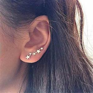 1 ペア星スタッド ピアス 耳クライマーカフ イヤリング レディース 日常ティーン Mothersday 天体誕生日 ewelry Earr|okuda-store