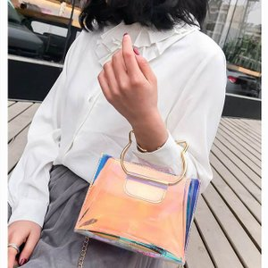 クロスボディ バッグ メッセンジャー ショルダー バッグ PU プラスチック 透明外側小さなビーチ掛け金 バック ルトート バッグ チェーン|okuda-store