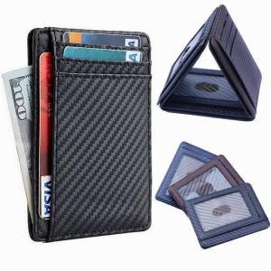 炭素繊維 財布 ホルダー ケース ポケット革二つ折り ショート 財布 メンズ ハスプ多機能カード 財布|okuda-store