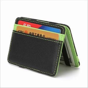 2020 新クレジットカード ホルダー ビジネス id カード 男女兼用 マジック 財布 スリムライトフリップ二つ折り革 財布|okuda-store