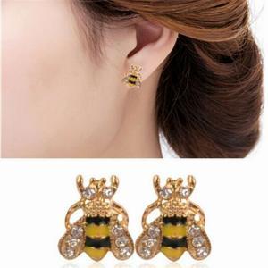 2020 新しいスタッド ピアス かわいい ラインストーンバンブル蜂 クリスタル イヤリング 動物 耳のスタッド ジュエリー ウェディング|okuda-store