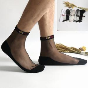 1 ペア メンズ レース クール靴下 超薄型絹 靴下 メンズ フォーマル ドレス スーツ 透明薄手 靴下 メンズ ビジネス ドレス okuda-store