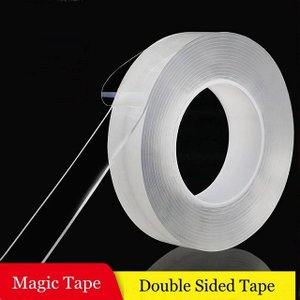 両面ナノ テープ 再利用可能な防水アクリル透明 粘着 超強力ゲルグリップ テープ 反射シール リフレクター 蛍光反射シール okuda-store