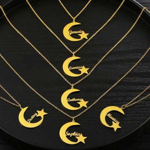 Diyカスタム名ムーン形 ネックレス ステンレススチールクレセントゴールドカラーパーティー ネックレス|okuda-store