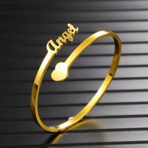 カスタム名前パーソナライズ レディース バングル 調整可能なステンレス鋼ハートオープン腕輪パーティー 結婚 式 誕生日 プレゼントの ファッ|okuda-store