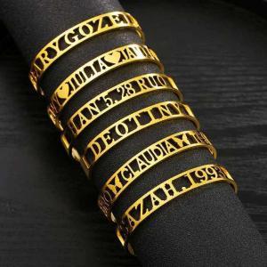 パーソナライズ名前カスタマイズ腕輪調整可能なゴールドカラーステンレス鋼diyオープン腕輪 レディース 男性 ファッション ジュエリー|okuda-store