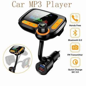 車 MP3プレーヤーのbluetoothカーキットfm トランスミッタ 変調器カラー画面aux音楽アダプタqc 3.0 usb 充電 器|okuda-store