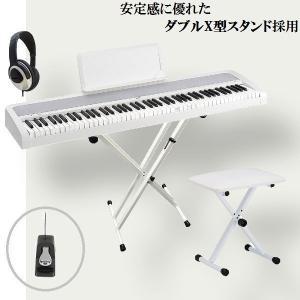 KORG 電子ピアノ B1 WH コルグ ダブルX型スタンド...