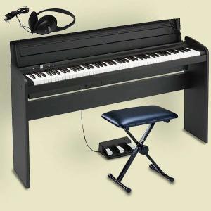 KORG LP-180 BK コルグ 電子ピアノ スタンド 3本ペダルユニット 椅子 純正ヘッドホン...