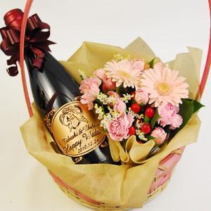 名入れのハーフワインを花かごで贈る!「ポール・ボーデ サン・タムール 375mL」結婚祝い・誕生日祝いにオススメ|okurusake