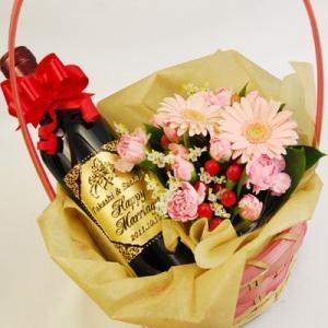 花かごで贈る!名入れのハーフワイン『赤い幸運』「フィロン・ルージュ」375ml|okurusake