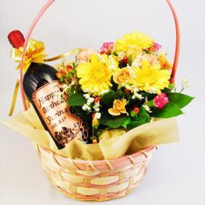 花かごで贈る!メッセージ彫刻の『赤い幸運』という名の赤ワイン「フィロン・ルージュ」750ml(名入れ 名前入り)の酒|okurusake
