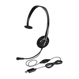 BUFFALO 片耳ヘッドバンド式ヘッドセット USB接続 ブラック BSHSHUM100BK|olap