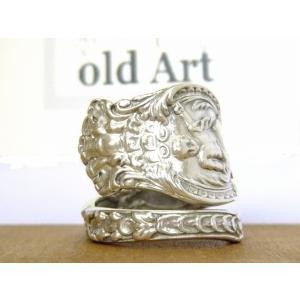 アンティーク1894年代エンジェル天使花繊細彫刻シルバー製スプーンリング指輪17号【M-10658】【中古】|oldwoods