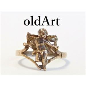 ビンテージキリスト天使エンジェルシルバー製リング指輪10号【M-10384a】【中古】|oldwoods