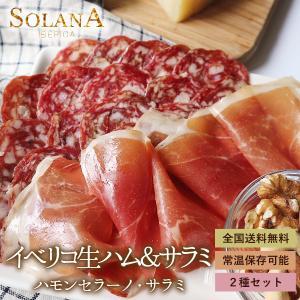 ポイント消化 セール特選おつまみ 生ハム食べ比べ 熟成ハモンセラーノ生ハム+イベリコ豚生サラミ