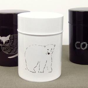 動物のイラストがかわいいコーヒーキャニスターです。  中蓋がついているので湿気を防ぎ、コーヒーの他、...