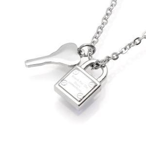 パドロック(南京錠)と鍵がセットになったおしゃれなネックレス。 小ぶりのサイズで男女問わず着用いただ...
