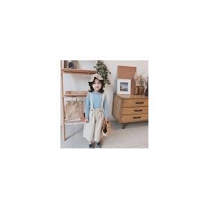 キッズ 女の子 パンツ サスペンダー ボトムス ズボン サロペット  韓国子供服 ナチュラルデザインサスペンダーパンツ アイボリー【797】 olpemi