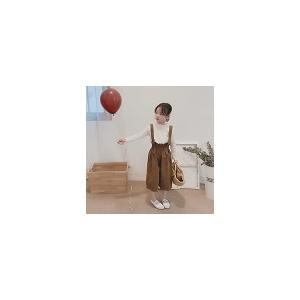 キッズ 女の子 パンツ サスペンダー ボトムス ズボン サロペット ニュアンスカラー 韓国子供服  ナチュラルデザインサスペンダーパンツ ブラウン【797】 olpemi