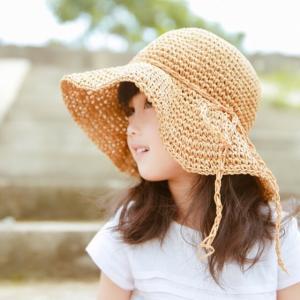 女の子 ガールズ キッズ 子供服 アクセサリー おしゃれ お洒落 麦わら帽子 ハット ナチュラル麦わら帽子【A015】|olpemi