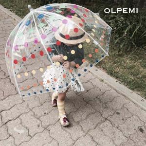 傘 子供 子供用 45cm 子ども  男の子 女の子 ビニール傘 ドット キッズ 透明 雨具 レイングッズ カラフル クリア×ドット柄 アンブレラ A031|olpemi