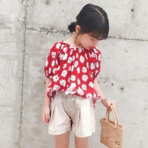 キッズ 女の子 ショートパンツ パンツ キュロット ニュアンスカラー 韓国子供服  かわいい キュロットスカート アイボリー【B049】 olpemi