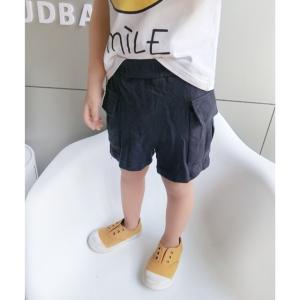 キッズ 男の子 パンツ ショートパンツ ボトムス ハーフパンツ スウェット ポケットスウェットショートパンツ ブラック【B053】 olpemi