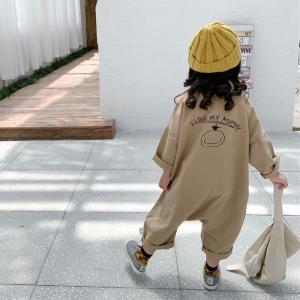 キッズ 子供 ジュニア 秋 サロペット オールインワン オーバーオール かわいい おしゃれ パンツ ベージュ バックプリントオールインワン I011 olpemi