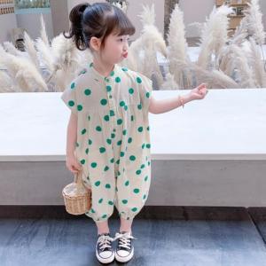 子供 女の子 オールインワン キッズ 夏 夏服 ジュニア 韓国子供服 かわいい ノースリーブグリーンドット柄オールインワン【I018】 olpemi