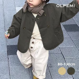 韓国子供服 キッズ アウター フードなし 男の子 女の子 子ども おしゃれ 80 90 100 110 120 130 秋 ノーカラーダブルボタンライトアウター O048|olpemi