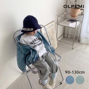 韓国子供服 キッズ アウター 男の子 女の子 子ども フードなし おしゃれ ノーカラー 秋 ビッグシルエットノーカラーデニムジャケット O049|olpemi