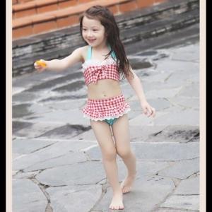 子供 水着 おしゃれ こども 女の子 セパレート ビキニ かわいい インポート 90cm ギンガムチェック柄水着 551|olpemi