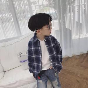 韓国子供服 シャツ おしゃれ キッズ 男の子 女の子 親子リンクコーデ 長袖 親子ペア ペアルック 韓国 お揃い服 チェック柄シャツ ブルー 739 olpemi
