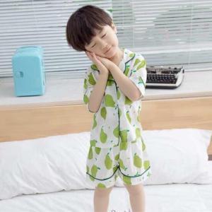 キッズ パジャマ 半袖 男の子 女の子 ルームウェア 春 夏 韓国こども服 おしゃれ かわいい シンプル ナチュラル フルーツ柄 洋なし柄パジャマ【R005】|olpemi