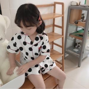 キッズ 男の子 女の子 パジャマ ルームウェア セットアップ 半袖 韓国こども服 子供服 春 夏 ドット柄 ポルカドットパジャマセット【R007】|olpemi