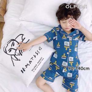 パジャマ キッズ 子供 半袖 男の子 男 夏用 半袖 半ズボン 綿 夏 サマー ルームウェア 前開き かっこいい ブラッシー柄パジャマ【R010】|olpemi