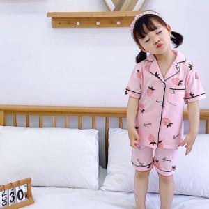キッズ パジャマ 半袖 女の子 ボタン ジュニア ルームウェア 韓国 子供服 春 夏 いちご お洒落 かわいい ストローベリー柄パジャマ【R022】|olpemi
