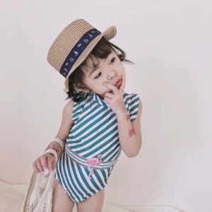 キッズ 水着 子ども おしゃれ 子供 女の子  ワンピース インポート かわいい 韓国 120 フラミンゴボーダースウィムウェア S004|olpemi