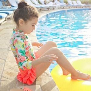 キッズ 子供 水着 セパレート 女の子 ラッシュガード おしゃれ 長袖 インポート花柄フリルラッシュガードスウィム3点セット ピンク S022|olpemi