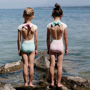 キッズ 水着 子供 女の子 おしゃれ ワンピース インポート 80 90 100 110 120 130 バックリボンバイカラースイムウェア S023|olpemi