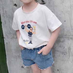 男の子 女の子 ボーイズ ガールズ キッズ 子供服 Tシャツ 半袖 夏服 夏物 マッスル マッスルキャラロゴTEE【T072】|olpemi
